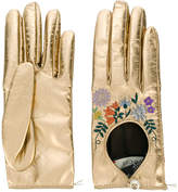 Gucci floral embroidered gloves