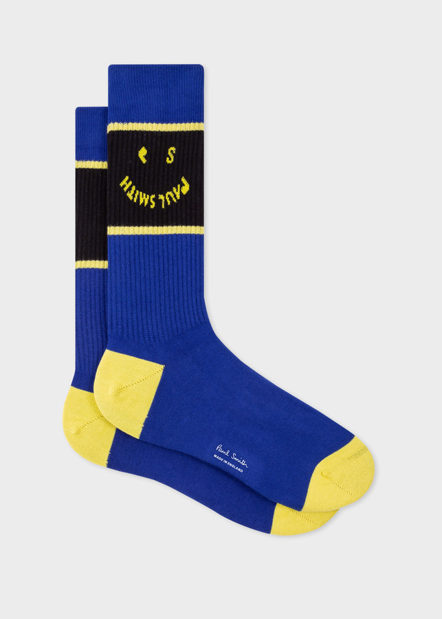 Thumbnail for your product : Paul Smith Men's Blue 'PS Smile' Ribbed Socks