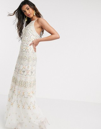 Needle & Thread embroidered cami maxi dress gown in ivory