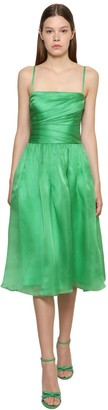 Ralph Lauren Draped Silk Satin Organza Midi Dress