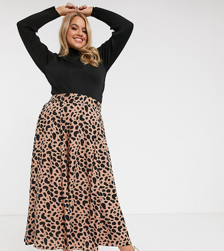 Asos DESIGN Curve floaty midi skirt with button waist detail in leopard print