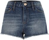 River Island Womens Mid Blue wash badge denim hot pants