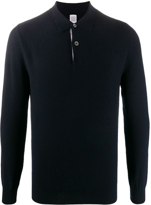 Eleventy Knitted Long-Sleeved Polo Shirt