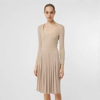 Burberry Long-sleeve Pleated Dress