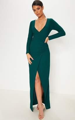 PrettyLittleThing Emerald Green Plunge Ruched Split Leg Maxi Dress
