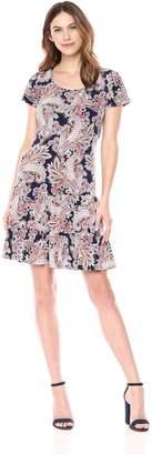 Ronni Nicole Women's Short Sleeve Textured Printed Dress with Ruffle Skirt