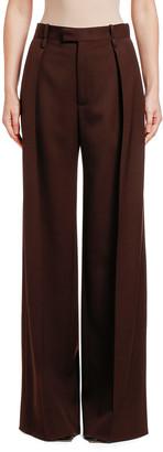 Bottega Veneta Wool Wide-Leg Pants, Brown