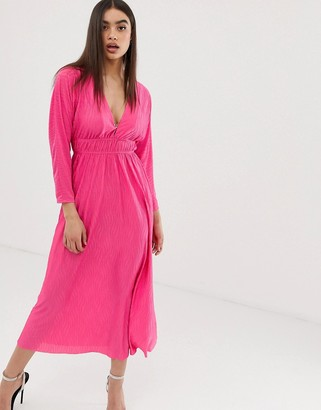 Asos Design DESIGN spot plisse elasticated waist maxi dress-Pink