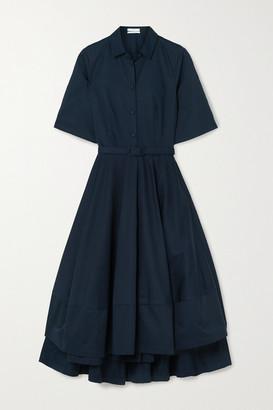 Co Belted Asymmetric Pleated Cotton-poplin Midi Shirt Dress - Navy