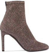 Giuseppe Zanotti Glittered Stretch-knit Ankle Boots - Silver