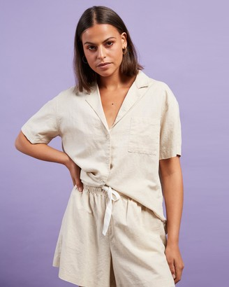 Nude Lucy Women's Neutrals Shirts & Blouses - Ezra Linen Shirt - Size XXL at The Iconic