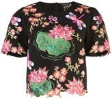 Josie Natori embroidered short sleeve top