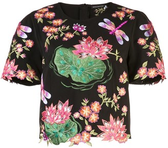 Josie Natori Embroidered Short Sleeve Top