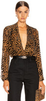 L'Agence Lydia Drape Front Blouse in Black & Nude Combo | FWRD