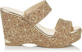 Jimmy Choo PARKER 100 Gold Embroidered Stars on Cork Wedges