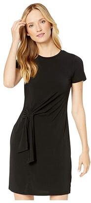 MICHAEL Michael Kors Solid Short Sleeve Tie Twist Dress (Black) Women's Clothing