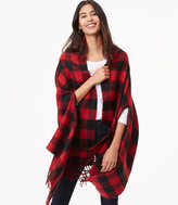 LOFT Reversible Buffalo Plaid Cape Wrap
