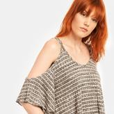 Romeo & Juliet Couture Half-Sleeve Cold Shoulder Striped Top With Double Straps