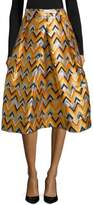 Milly Geometric Pleated Midi Skirt