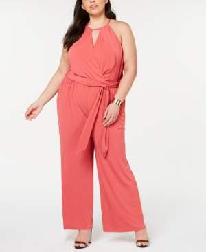 1 STATE 1.State 1.state Plus Size Halter-Neck Faux-Wrap Jumpsuit