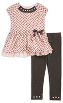 Little Lass Little Girl's Embellished Peplum Top and Leggings Set