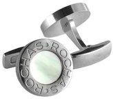 Rochas ROH BM002/01B Men's Cufflinks Stainless Steel with Pearl and Onyx White