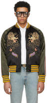 Gucci Black and Green Embroidered Souvenir Jacket