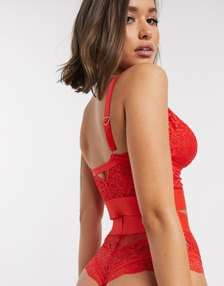 Tutti Rougette Gia Fuller Bust longline lace bralette with strapping detail in red