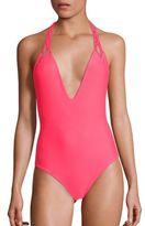 Mikoh Swimwear One-Piece Topanga Macrame Halter Swimsuit