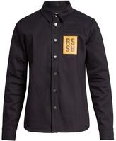 Raf Simons Logo-patch Point-collar Denim Shirt