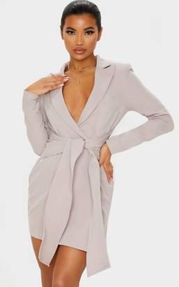 PrettyLittleThing Grey Wrap Tie Blazer Dress