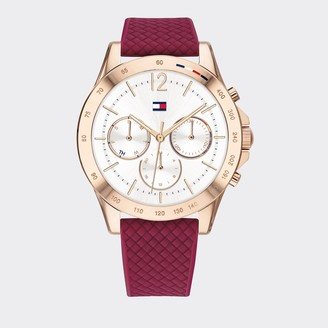 Tommy Hilfiger Rose Gold Sport Watch with Red Silicone Strap