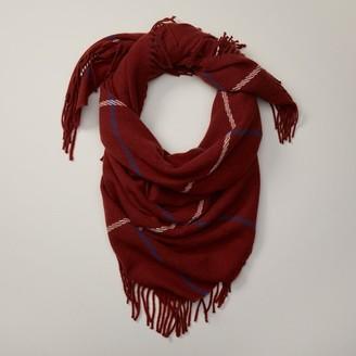 Love & Lore Love And Lore Windowpane Blanket Scarf Auburn