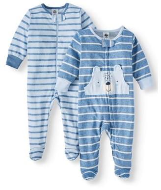 Gerber Baby Boy Organic Cotton Zip Front Sleep N Play Pajamas, 2-Pack, Newborn, Teddy