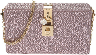 Dolce & Gabbana Blush Pink Crystal Embellished Satin Box Bag