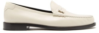 Saint Laurent Monogram Leather Penny Loafers - White
