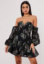 Missguided Black Floral Applique Bardot Mini Dress