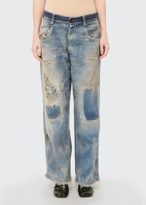 Maison Margiela Distressed and Patched Boyfriend Jeans