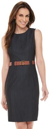 Chaps Women's Sleeveless Denim Sheath Dress with Belt
