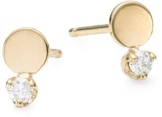 Zoë Chicco Itty Bitty 14K Yellow Gold & Diamond Disc Stud Earrings
