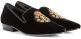 Saint Laurent Devon 25 Embroidered Velvet Slippers