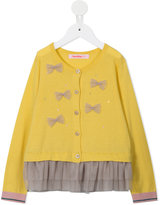 Familiar bow, gemstone and frill detail cardigan - kids - Cotton - 6 yrs