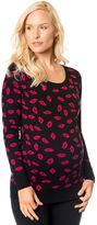 A Pea in the Pod Long Sleeve Lipstick Print Maternity Sweater