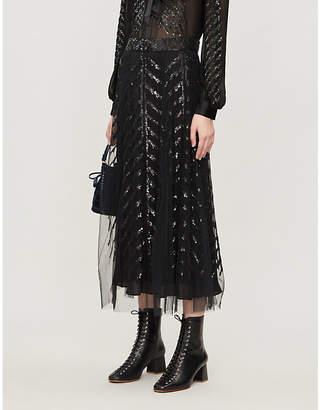 Temperley London Dusk high-waist sequinned mesh midi skirt