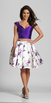 Dave and Johnny V-shape Cold Shoulder Strap Two Piece Homecoming Dress