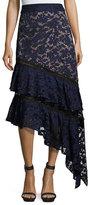 Prabal Gurung Asymmetric Ruffled Lace Skirt, Blue