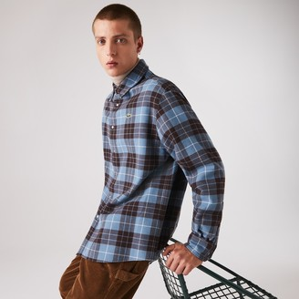Lacoste Men's LIVE Checked Flannel Lined Oversized Shirt