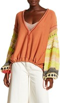 Free People Long Sleeve V-Neck Knit Sweater
