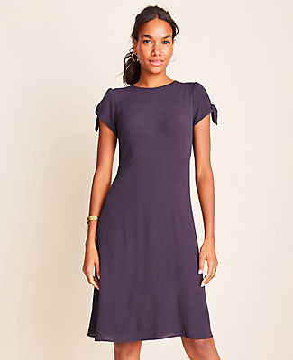 Ann Taylor Petite Tie Sleeve Flare Dress
