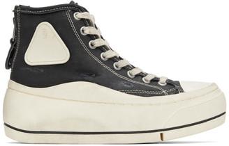 R 13 Black Distressed High-Top Sneakers